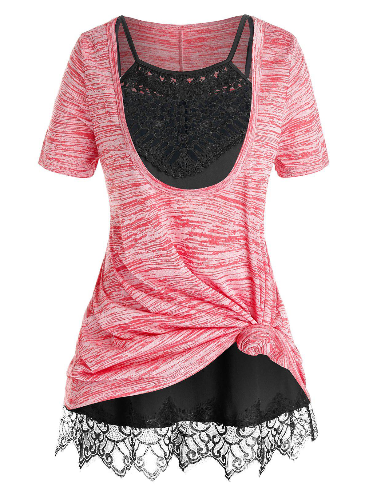 Plus Size Space Dye Front Knot T Shirt and Cami Top Set - WATERMELON PINK 5X