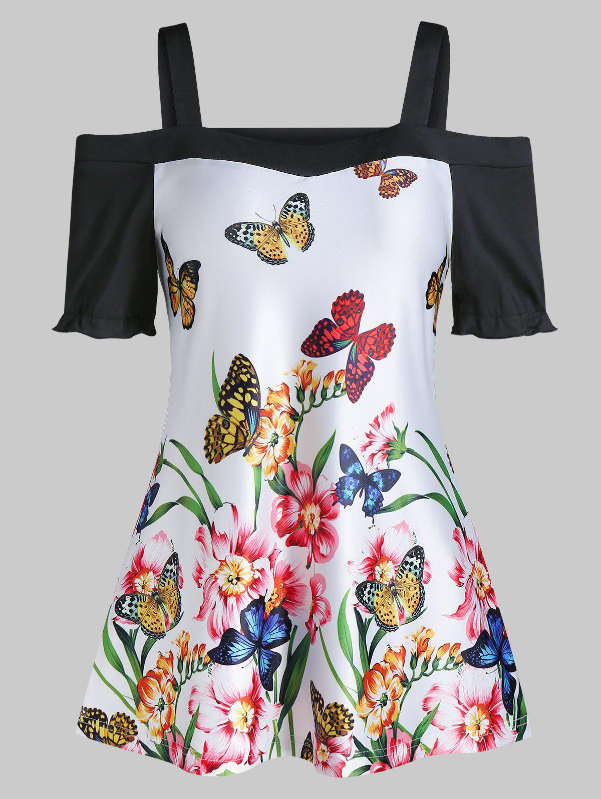 Butterfly Floral Print Open Shoulder Frilled T Shirt - WHITE M
