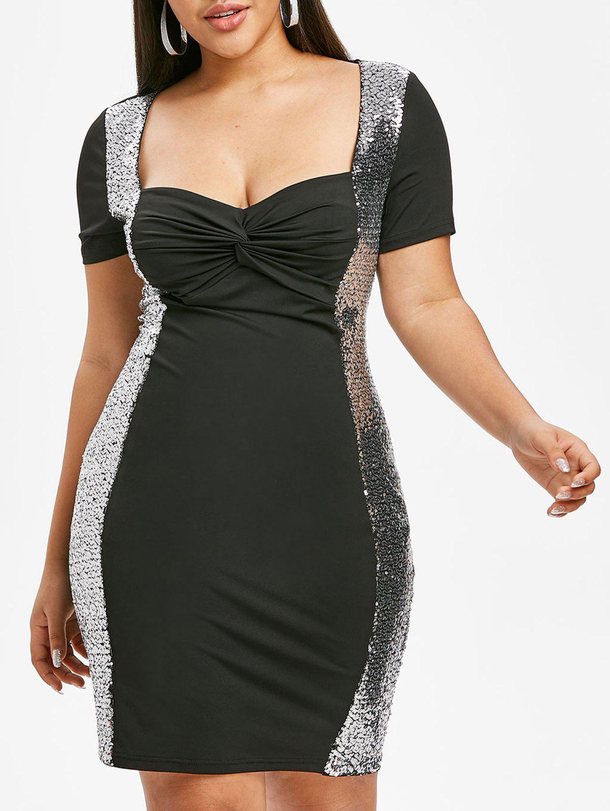 Plus Size Front Twist Sequin Bodycon Party Dress - BLACK 3X