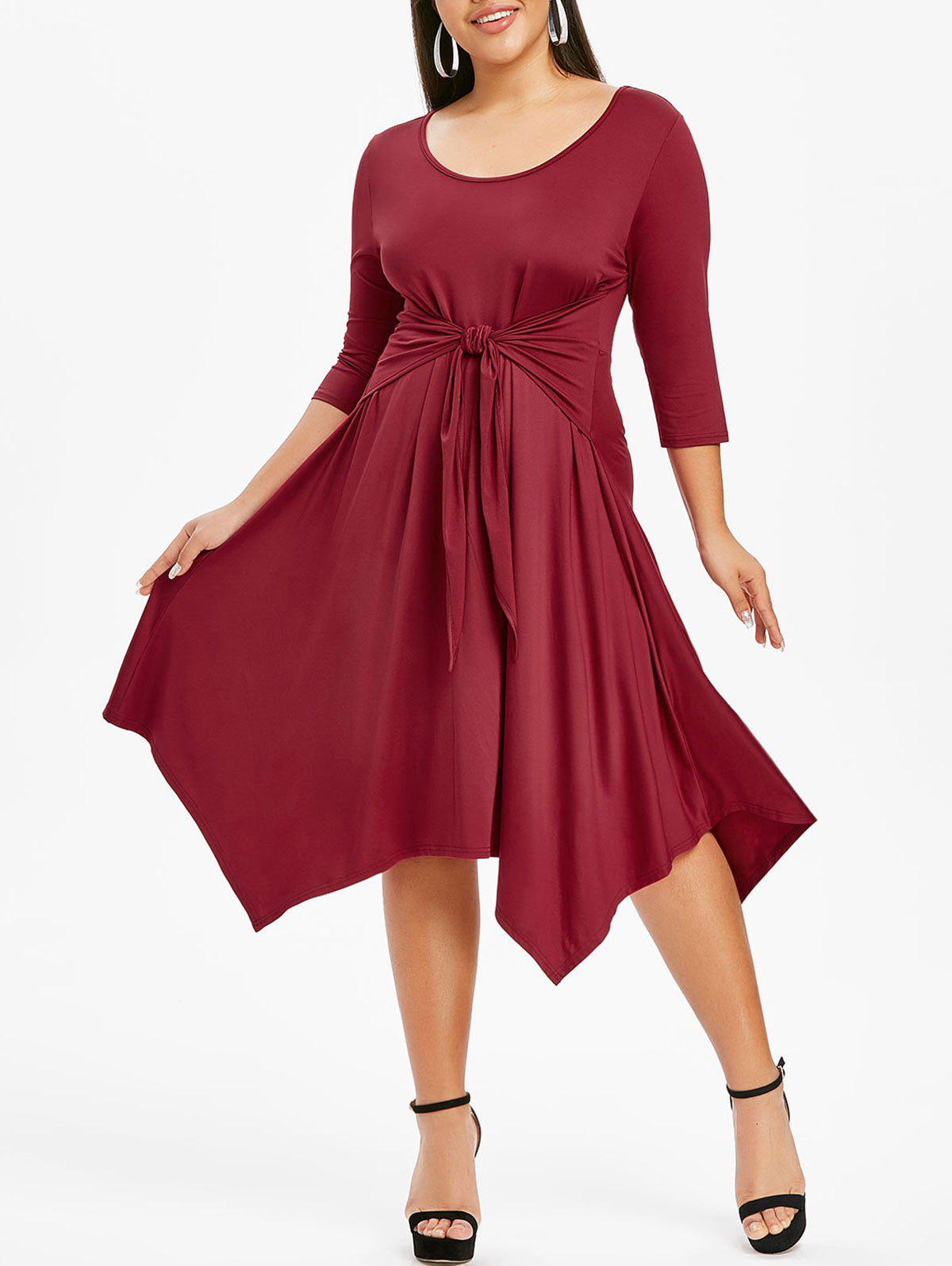Plus Size Solid Color Handkerchief Dress - BLOOD RED 5X