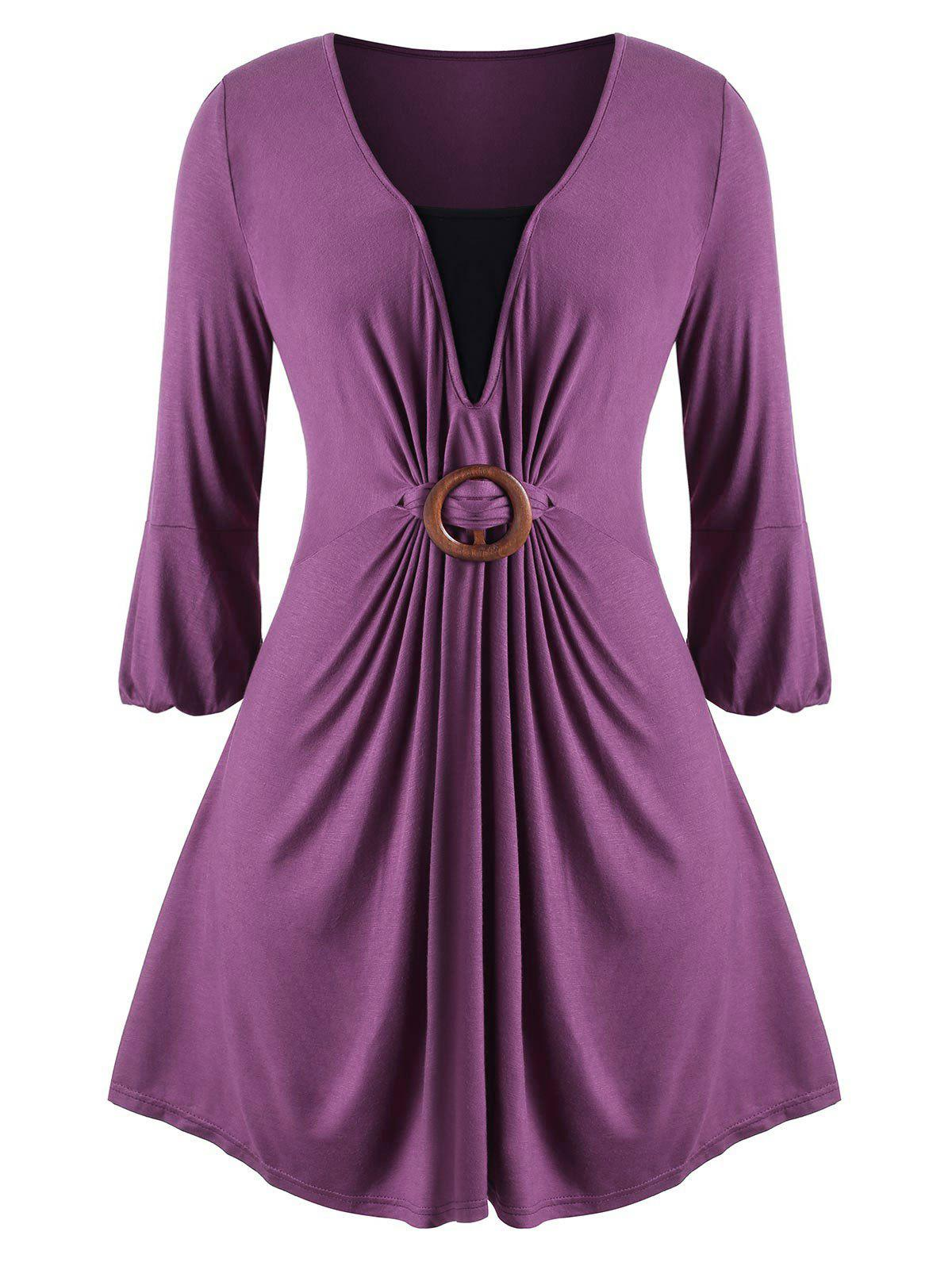 O Ring Contrast Skirted Longline Plus Size Top - PURPLE 1X