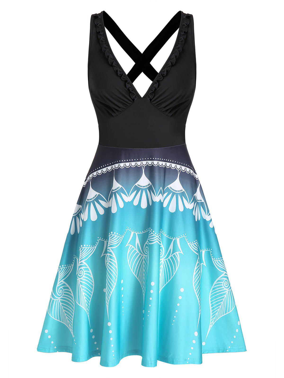Printed Ruched Plunging Neck Mini Cami Dress - BLACK XL