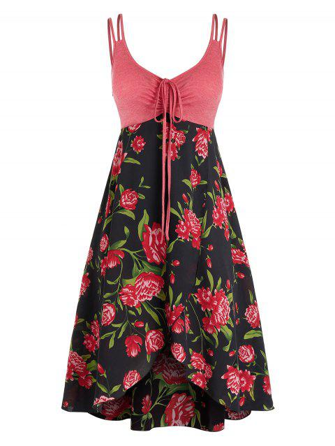 Plus Size Flower Cinched Tie Overlap Backless Dress