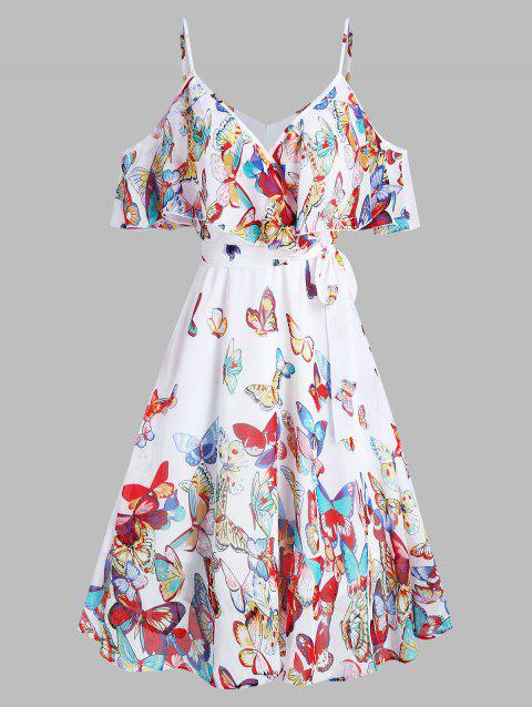 Butterflies Print Knotted Cold Shoulder Dress