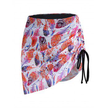Feather Print Cinched Swim Bottom