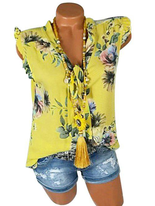Plus Size Ruffled Bowknot Tie Floral Tank Top - YELLOW 4X