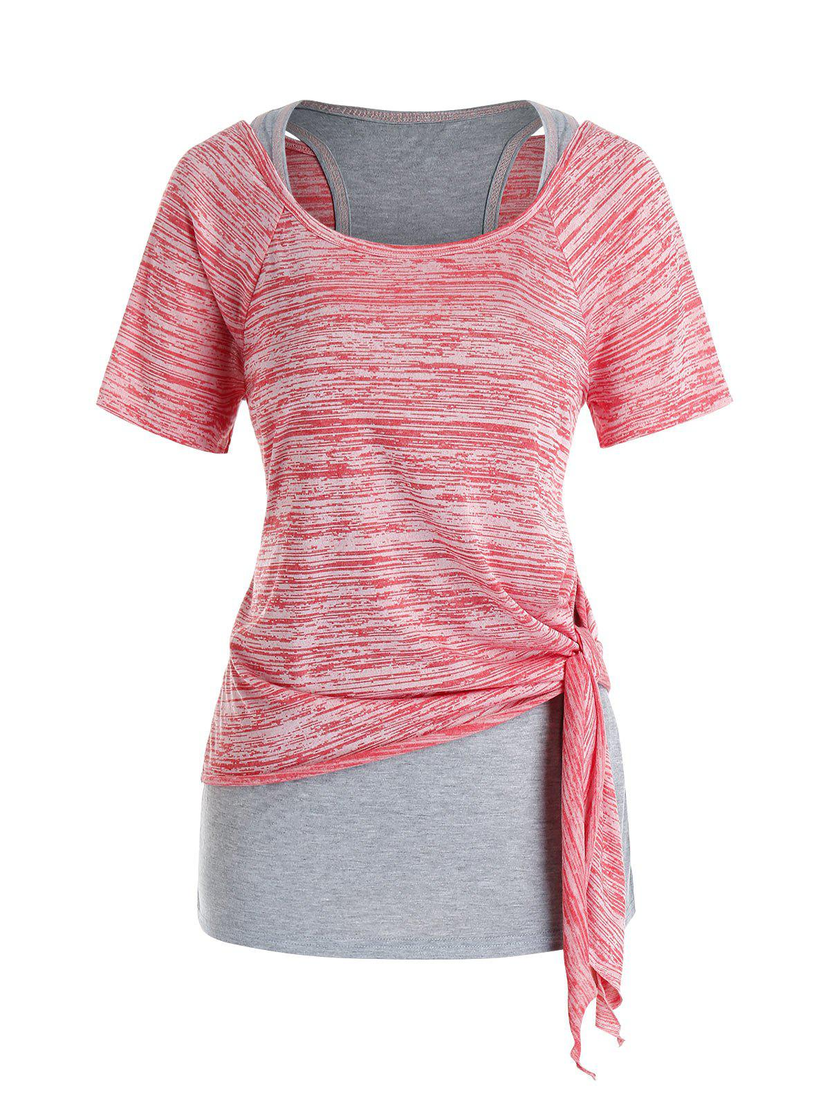 Plus Size Marled Tie Knot T Shirt and Racerback Tank Top Set - PINK 4X