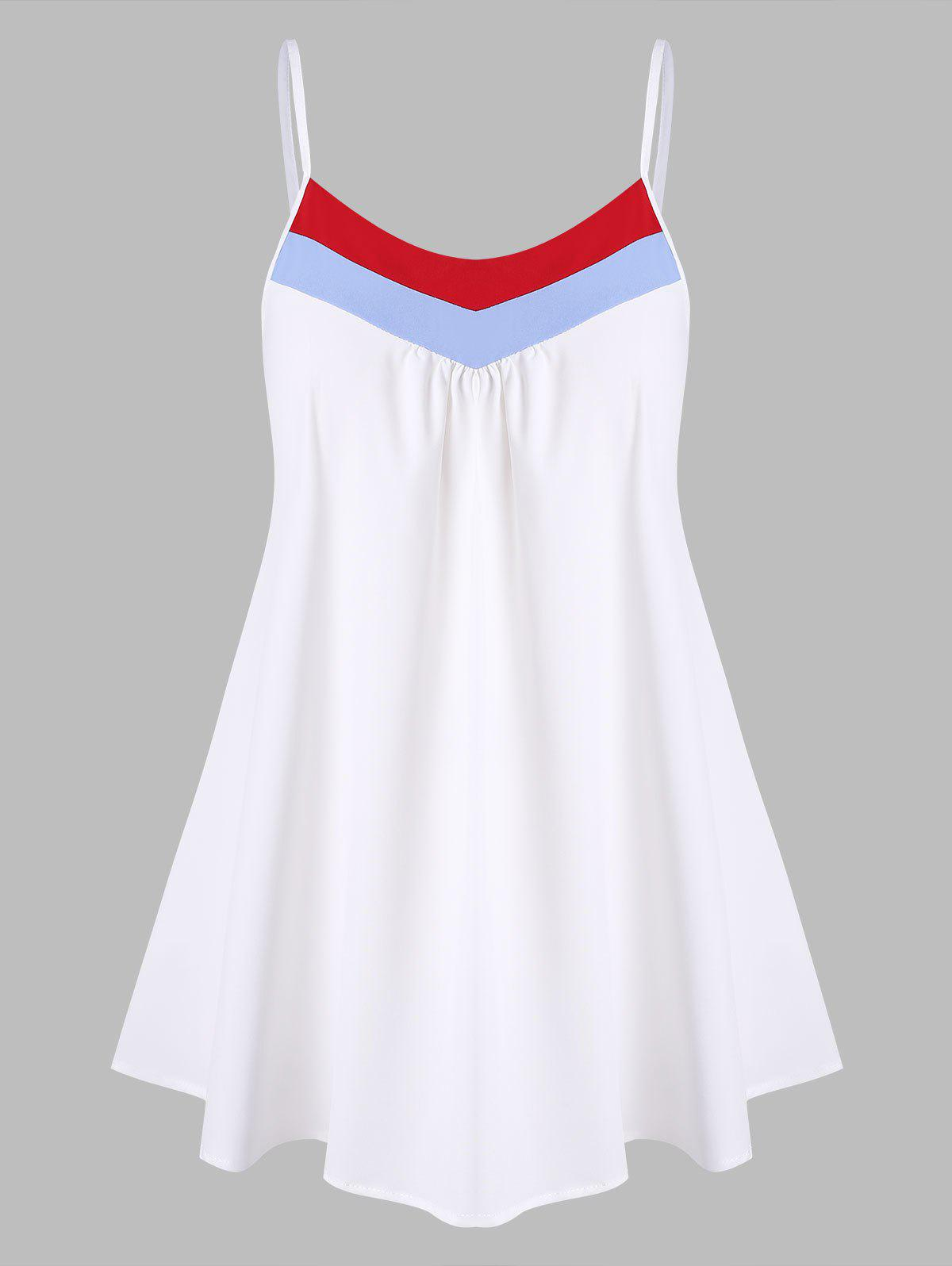 Stripes Panel Ruched Front Plus Size Cami Top - WHITE 5X