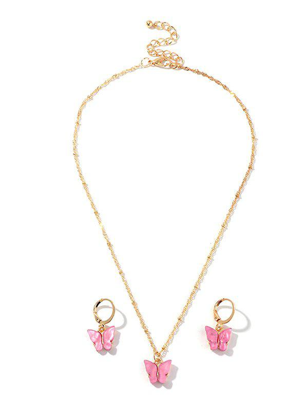 Resin Butterfly Necklace And Drop Earrings Set - BRIGHT NEON PINK