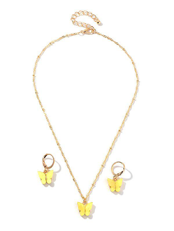 Resin Butterfly Necklace And Drop Earrings Set - YELLOW