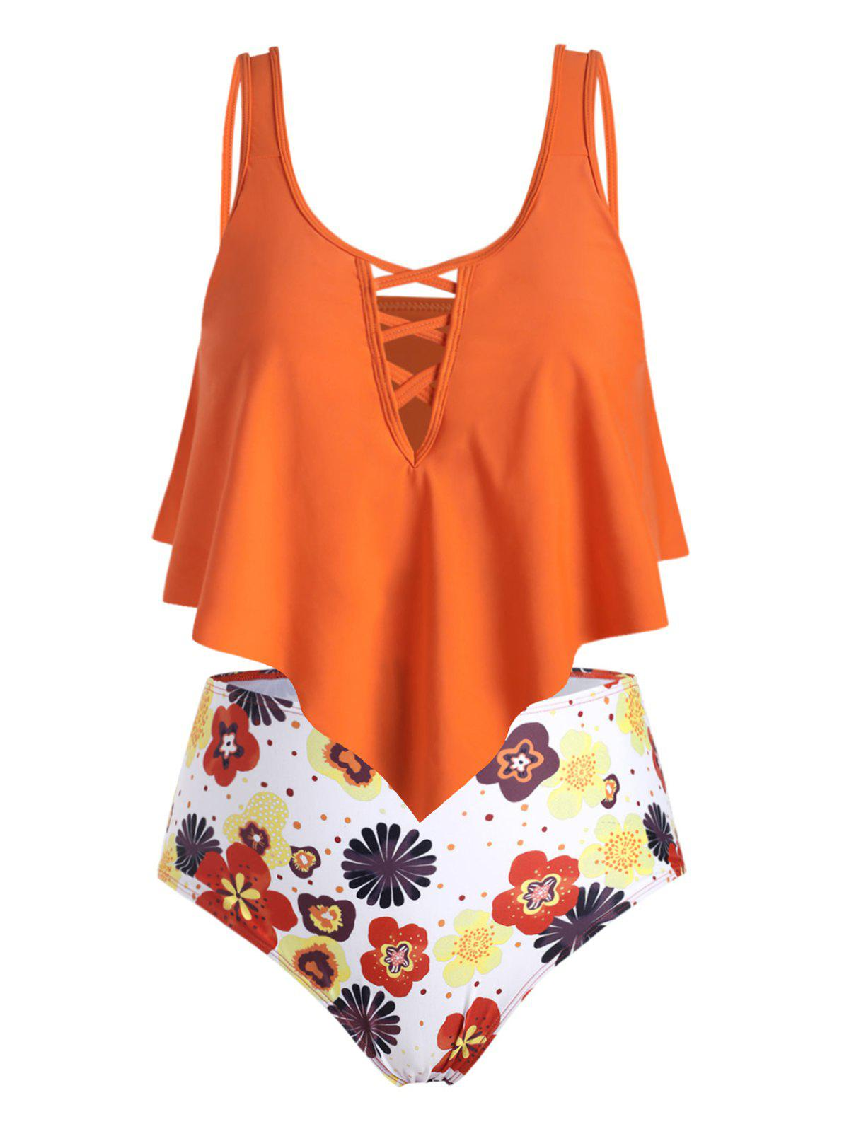 Plus Size Crisscross Ruffle Floral Tankini Swimwear - ORANGE 4X