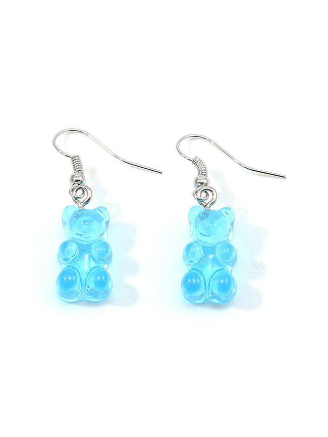 Transparent Resin Bear Drop Earrings - SEA BLUE