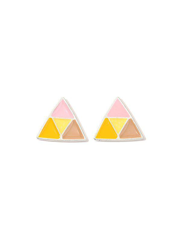 Brief Colorblock Triangle Stud Earrings - multicolor