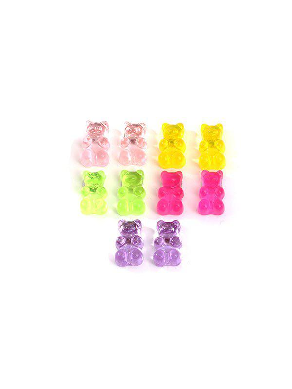 5Pairs Transparent Bear Stud Earrings Set - multicolor