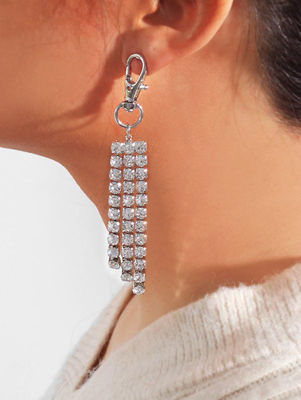Snap Hook Shape Rhinestone Tassel Earrings - SILVER