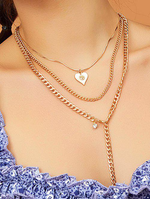 Pendentif Coeur multi couches Collier chaîne - Or
