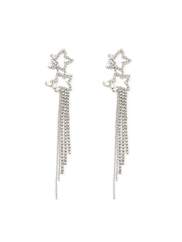 Hollow Star Tassel Rhinestone Earrings - SILVER
