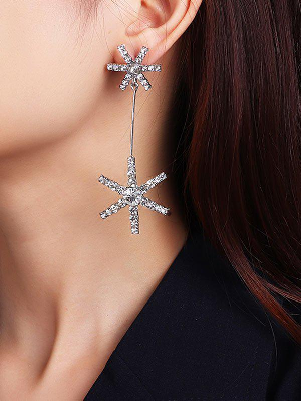 Rhinestone Snowflake Shape Dangle Earrings - SILVER