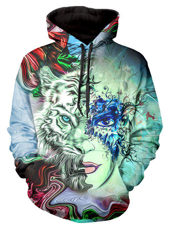 Masked Face Graphic Front Pocket Casual Hoodie - multicolor 2XL