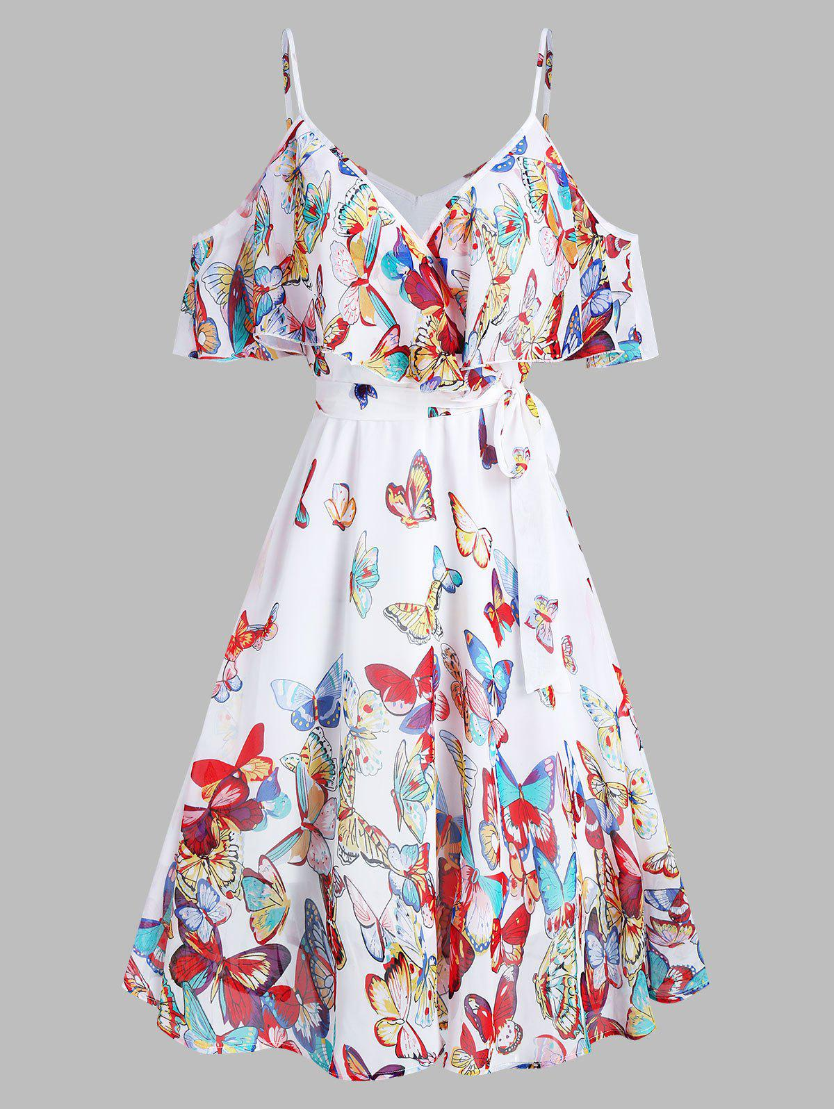 Butterflies Print Knotted Cold Shoulder Dress - WHITE M