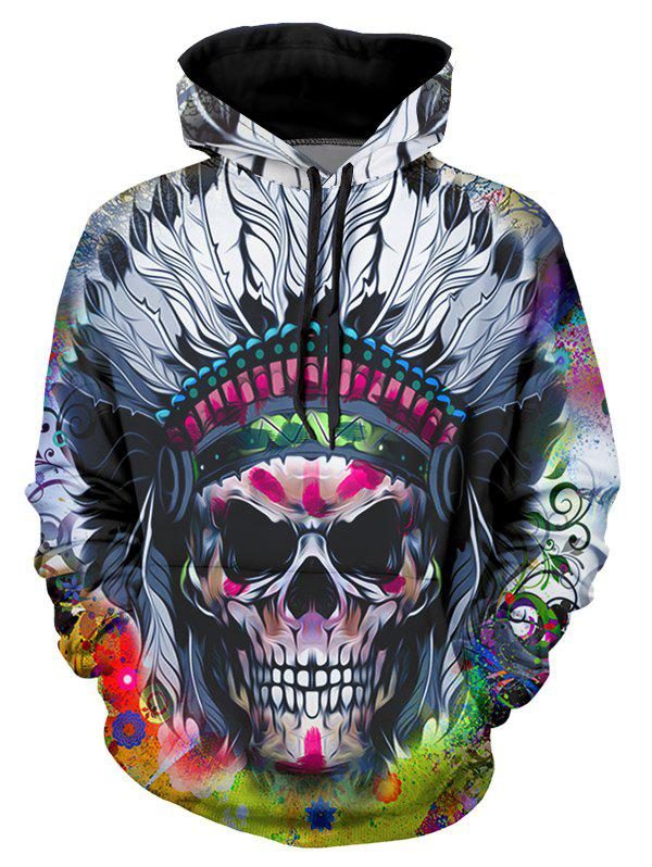 Indian Skull Graphic Casual Front Pocket Hoodie - multicolor S