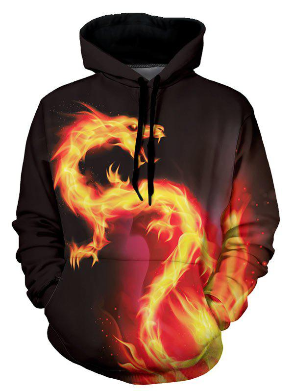 Fire Dragon Graphic Front Pocket Casual Hoodie - multicolor XS