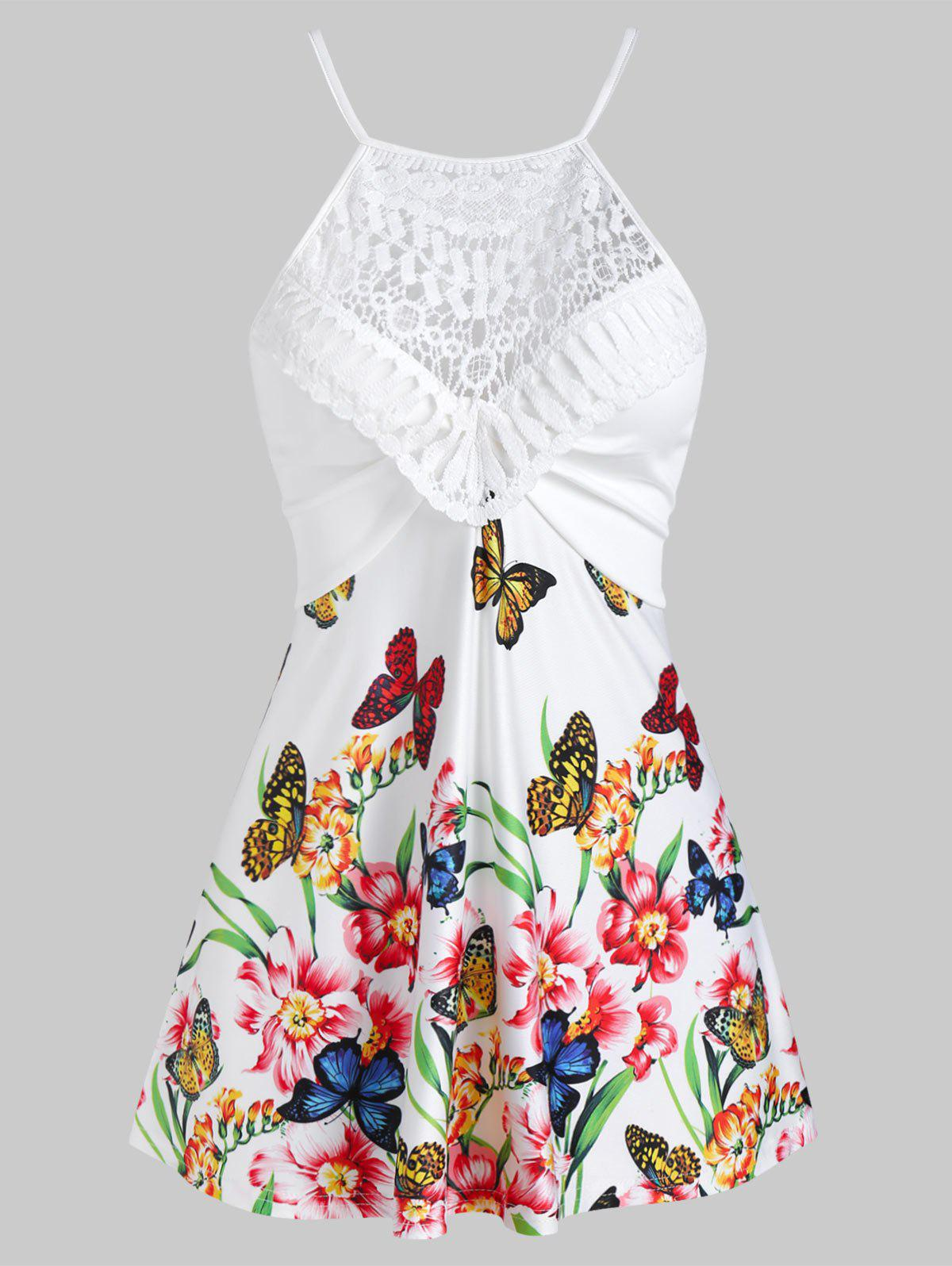 Butterflies and Flowers Print Lace Insert Cami Top - WHITE M