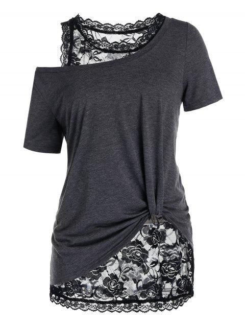 Plus Size Skew Neck T Shirt with Floral Lace Tank Top