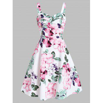 Floral Print Buttons Sweetheart Neck A Line Dress