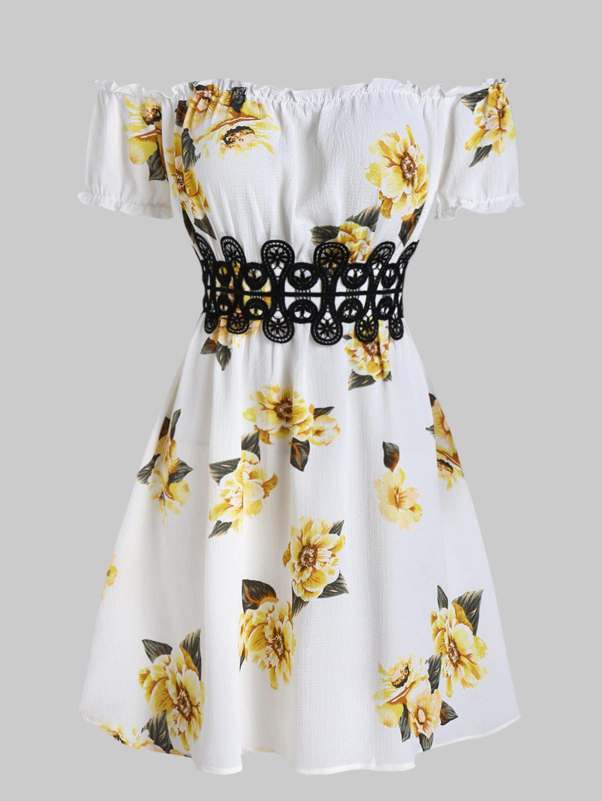 Flower Print Lace Applique High Waist Dress - CORN YELLOW 2XL