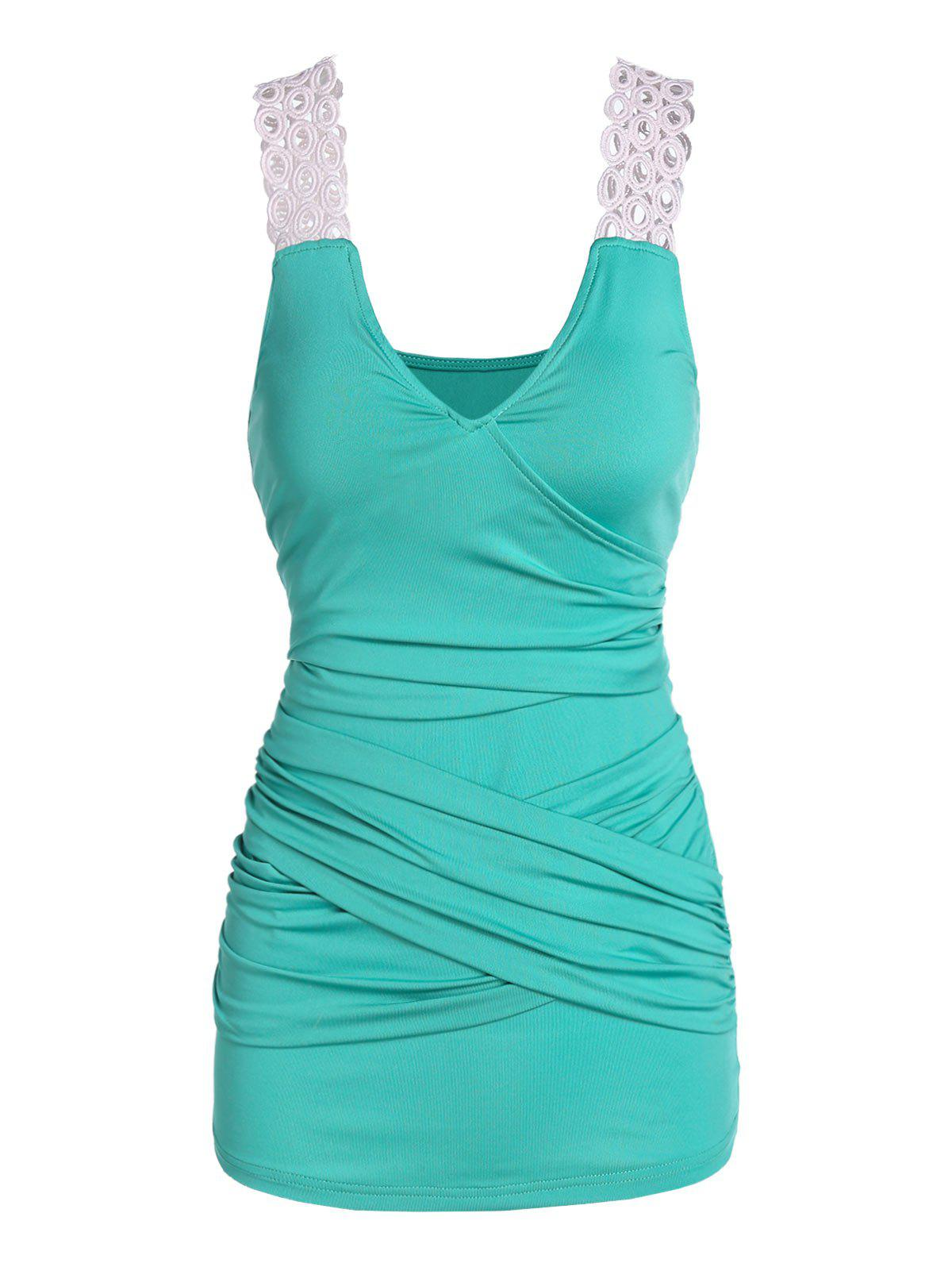 Crossover Ruched Tank Top - LIGHT SEA GREEN 3XL