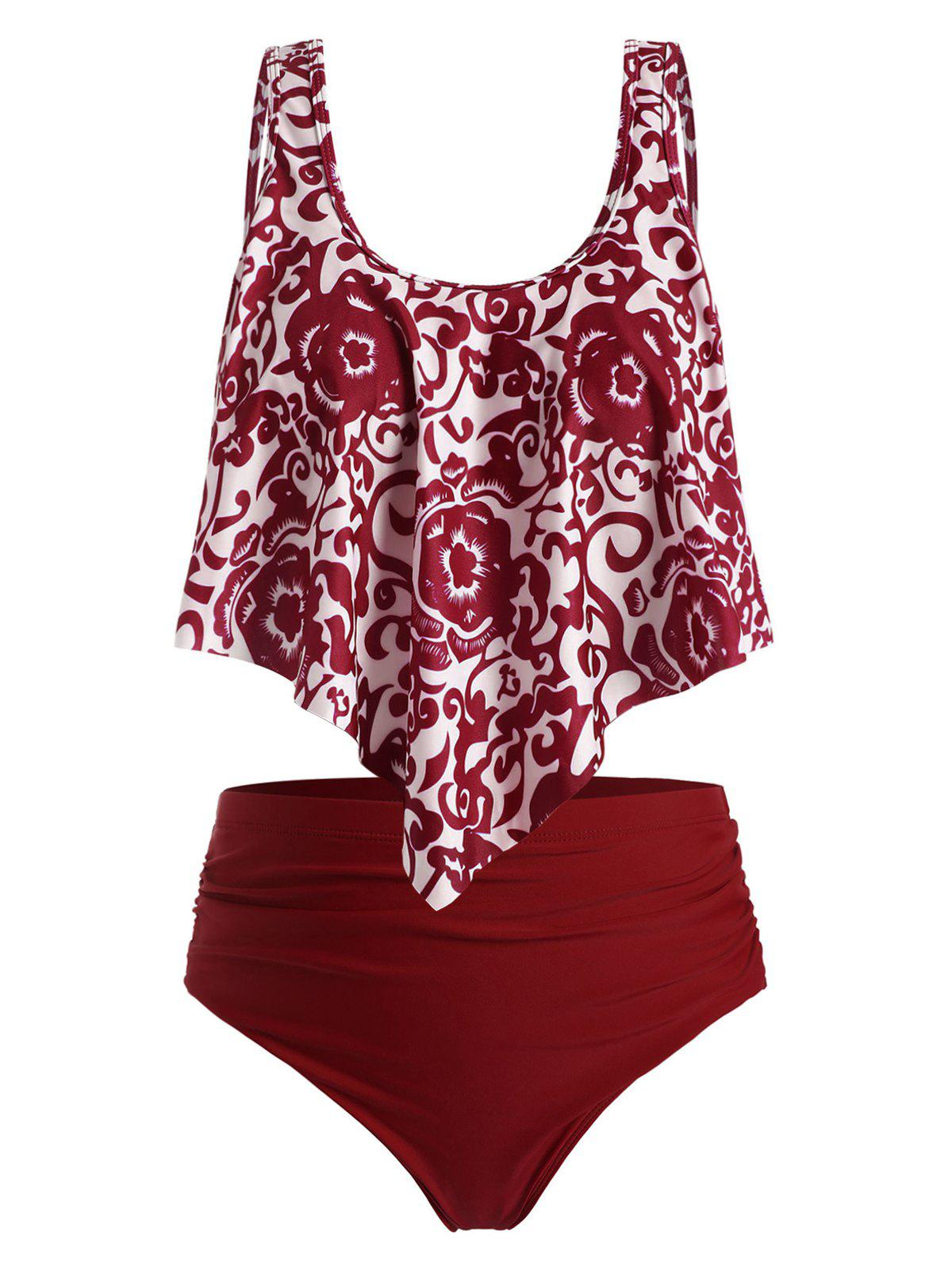 Plus Size Printed Flounce Tankini Swimwear - RED WINE 4X