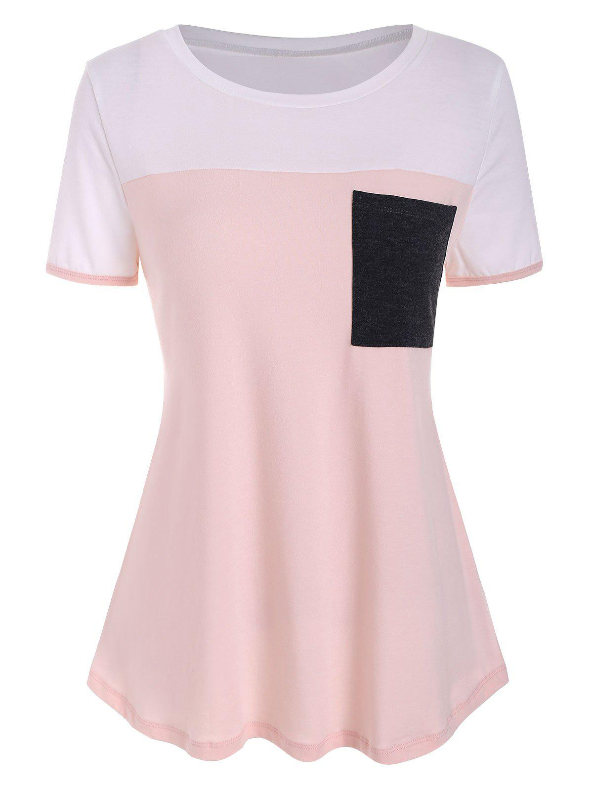 Pocket Colorblock Tunique T-shirt - Rose 2XL