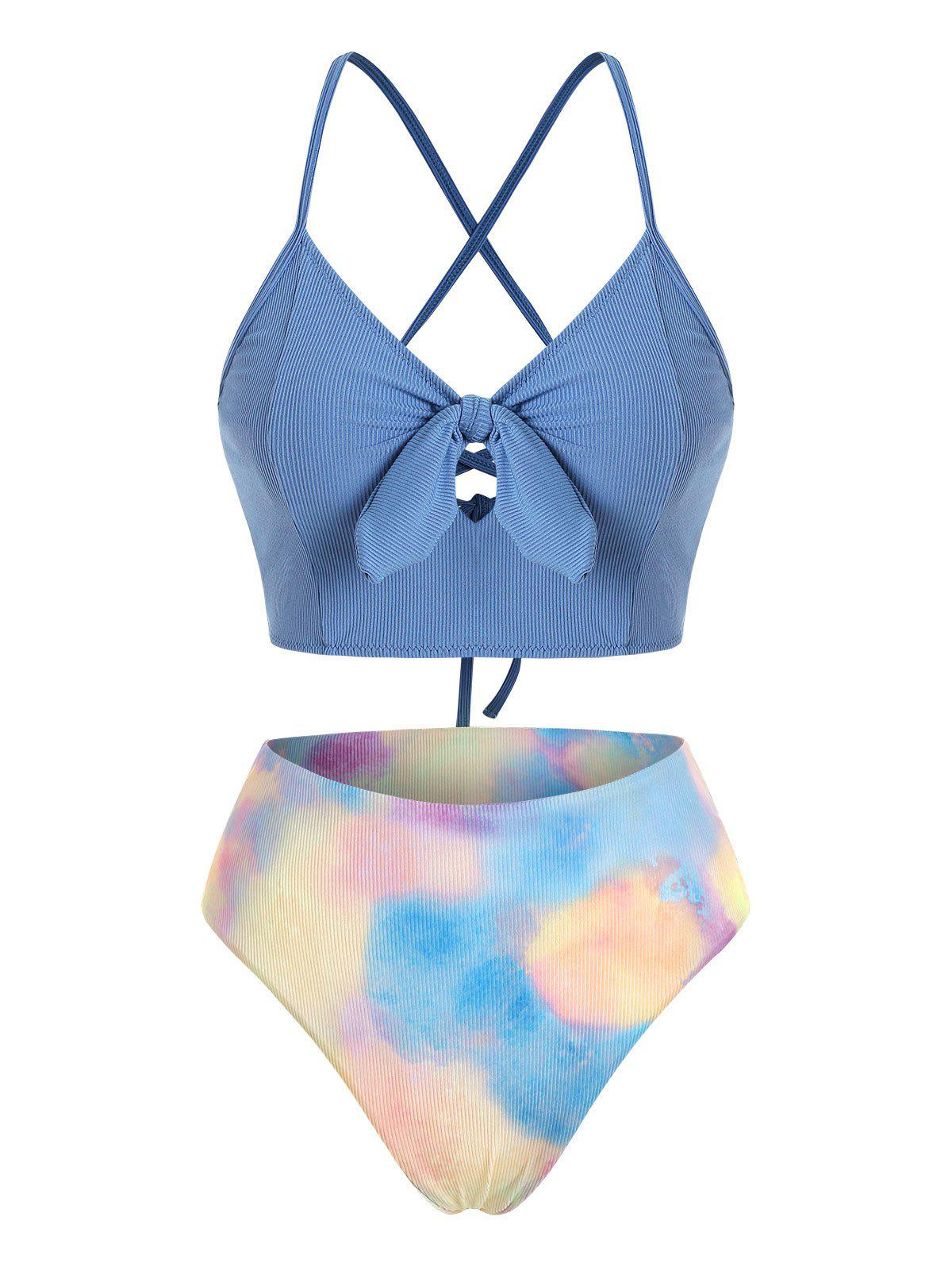 Tie Dye Lace-up Knot Ribbed Tankini Set - CRYSTAL BLUE M