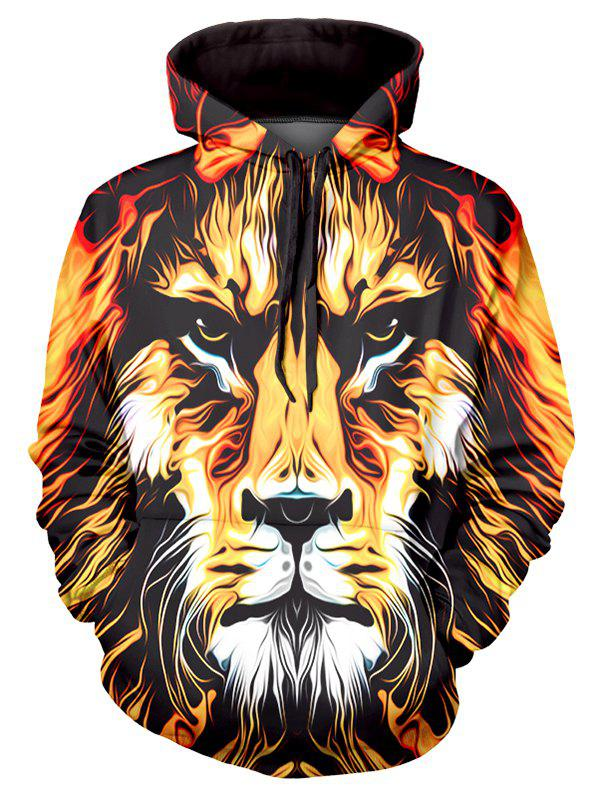 Lion Art Paint Graphic Front Pocket Casual Hoodie - multicolor 2XL