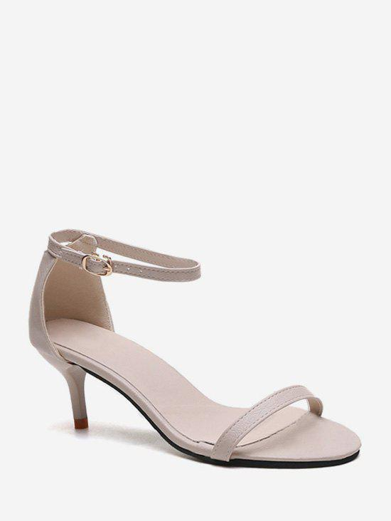One Strap Low Heel Ankle Strap Sandals - APRICOT EU 38
