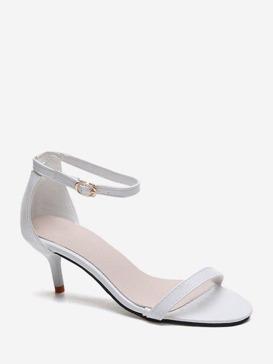 One Strap Low Heel Ankle Strap Sandals - WHITE EU 39