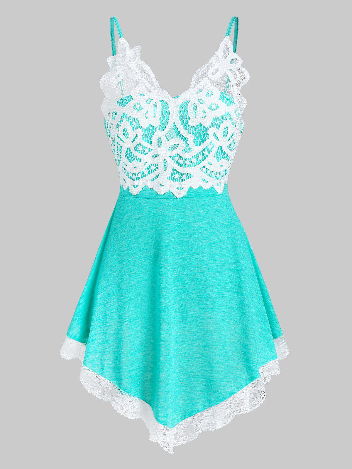 Lace Insert Pointed Hem Cami Top - MEDIUM TURQUOISE L