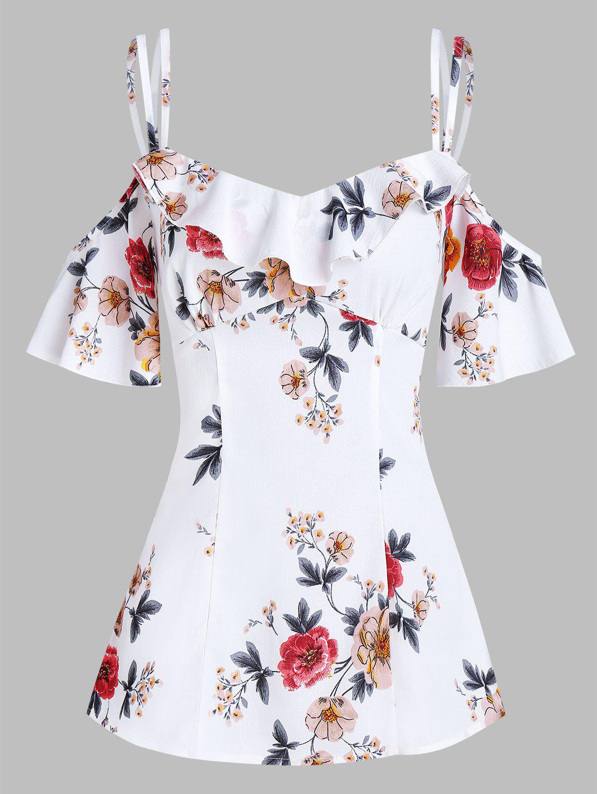 Floral Print Open Shoulder Flounce Blouse - WHITE XL