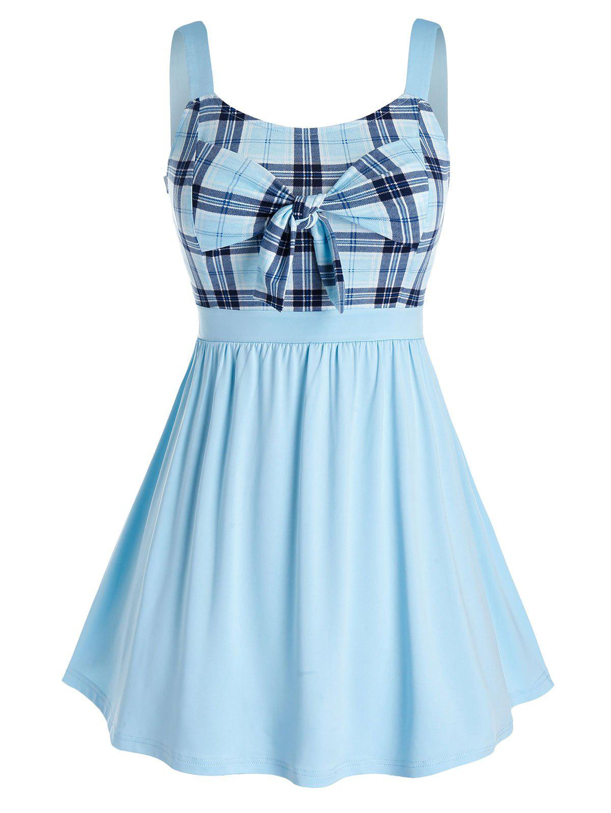 Plus Size Bowknot Plaid Splicing Tank Top - CRYSTAL BLUE 2X