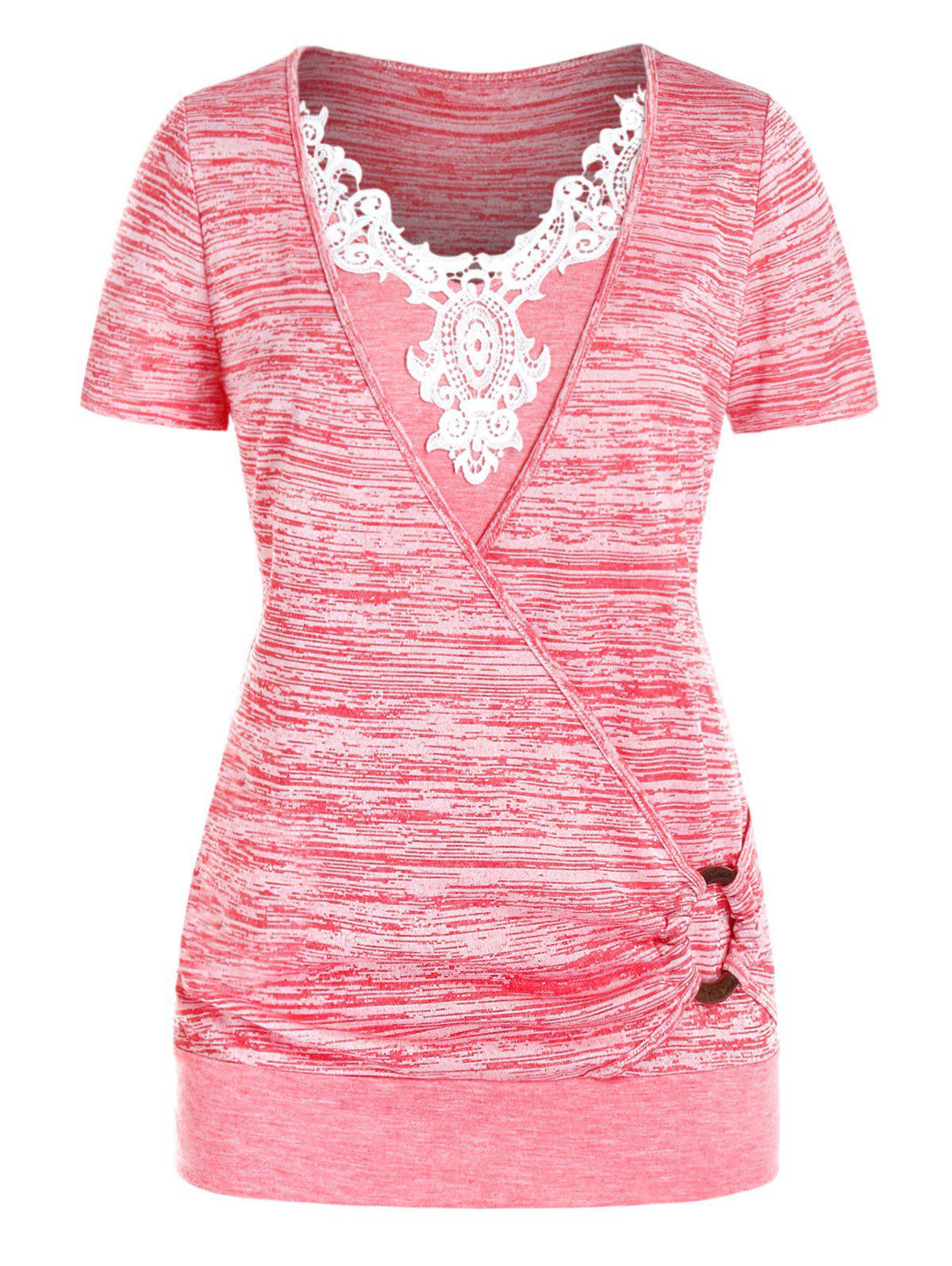 Plus Size Lace Applique O Ring Marled T Shirt - PINK ROSE 5X