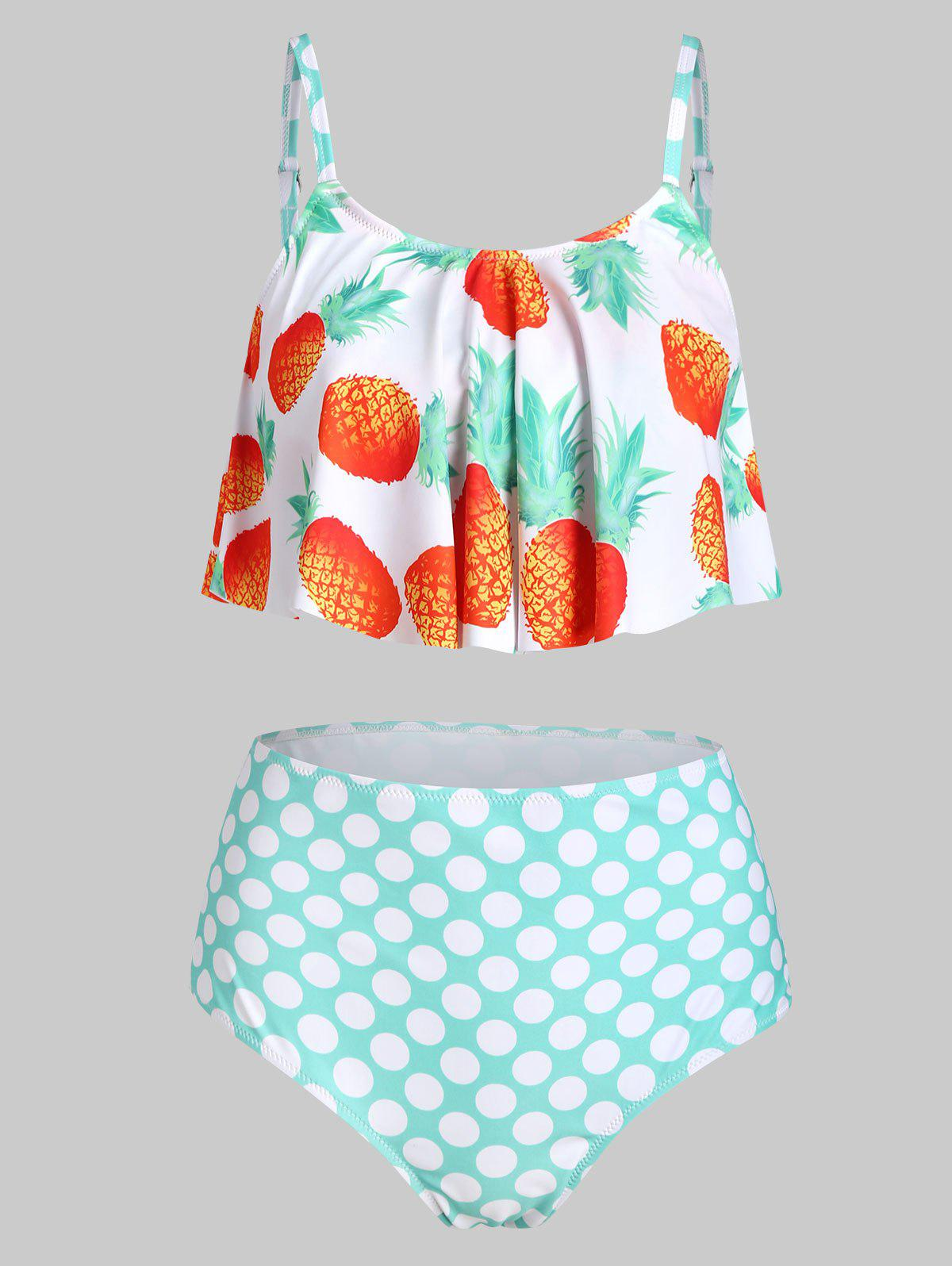 Pineapple Polka Dot Overlay Tankini Swimwear - LIGHT CYAN 3XL