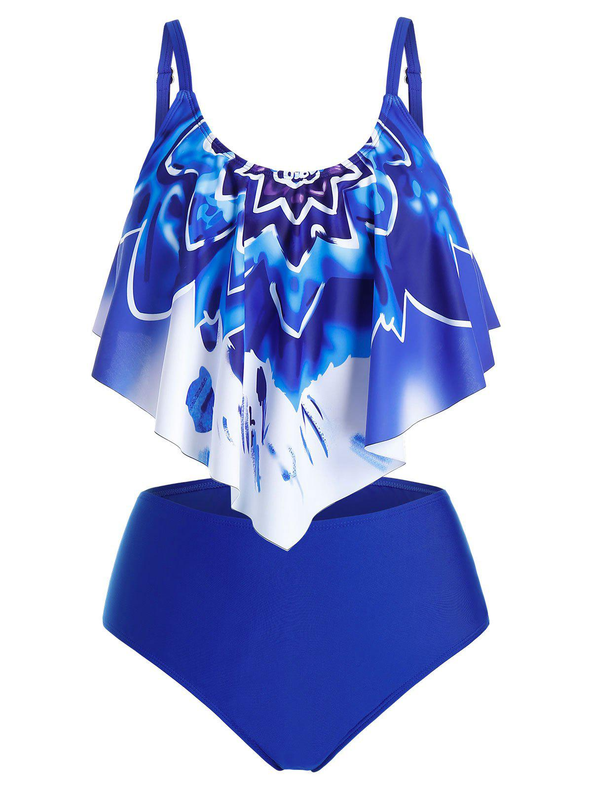 Plus Size Ruffle Printed Tankini Swimwear - BLUEBERRY BLUE L