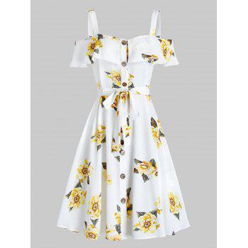 Flower Print Open Shoulder Belted Dress