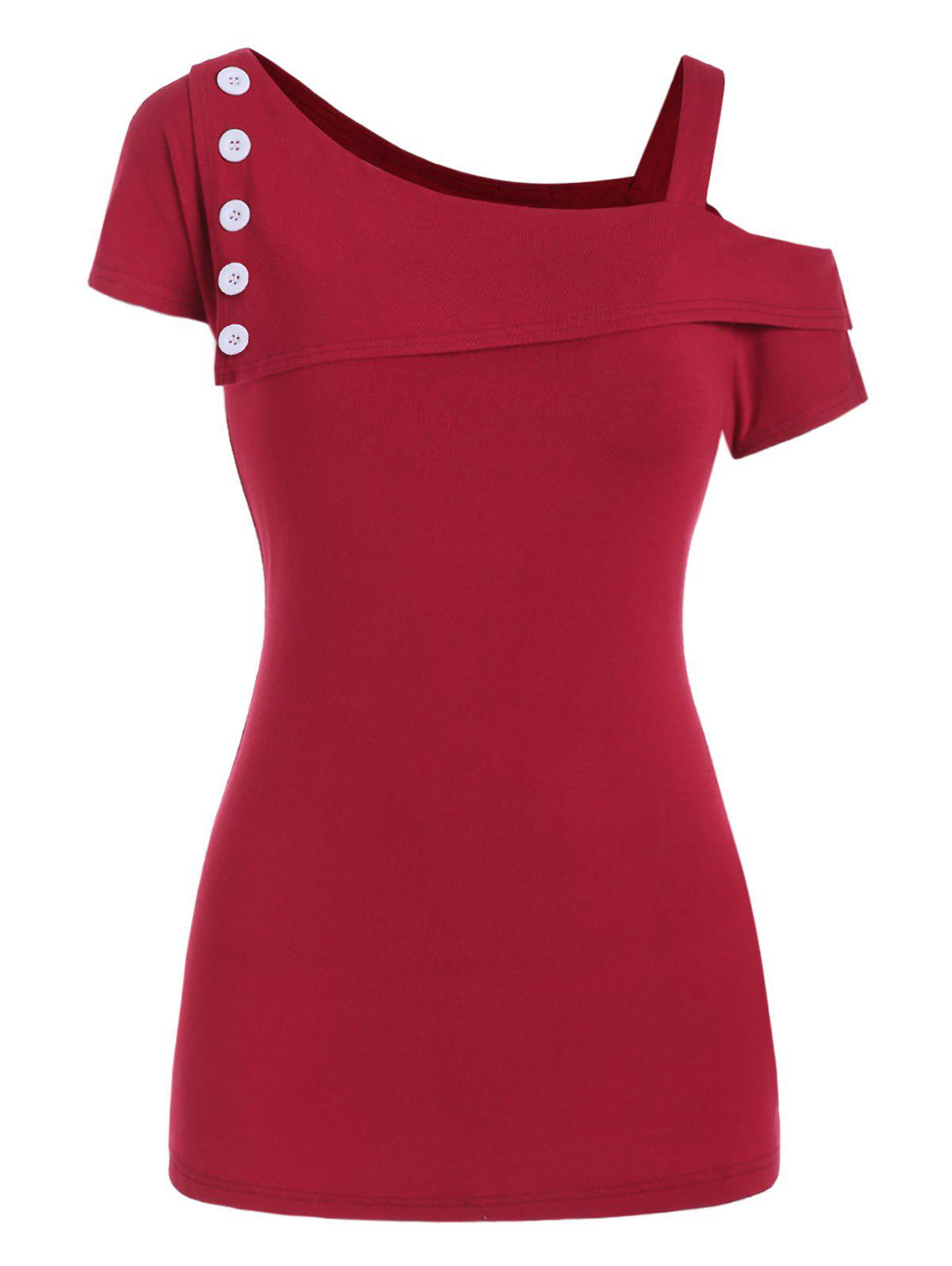 Buttons Skew Neck Solid Tee - CHERRY RED 2XL