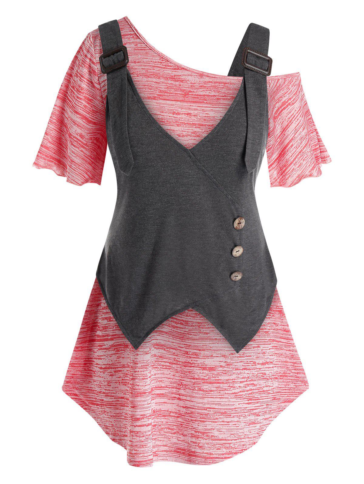 Plus Size Skew Neck Marled T Shirt And Buckles Handkerchief Tank Top Set - BLUSH RED 5X