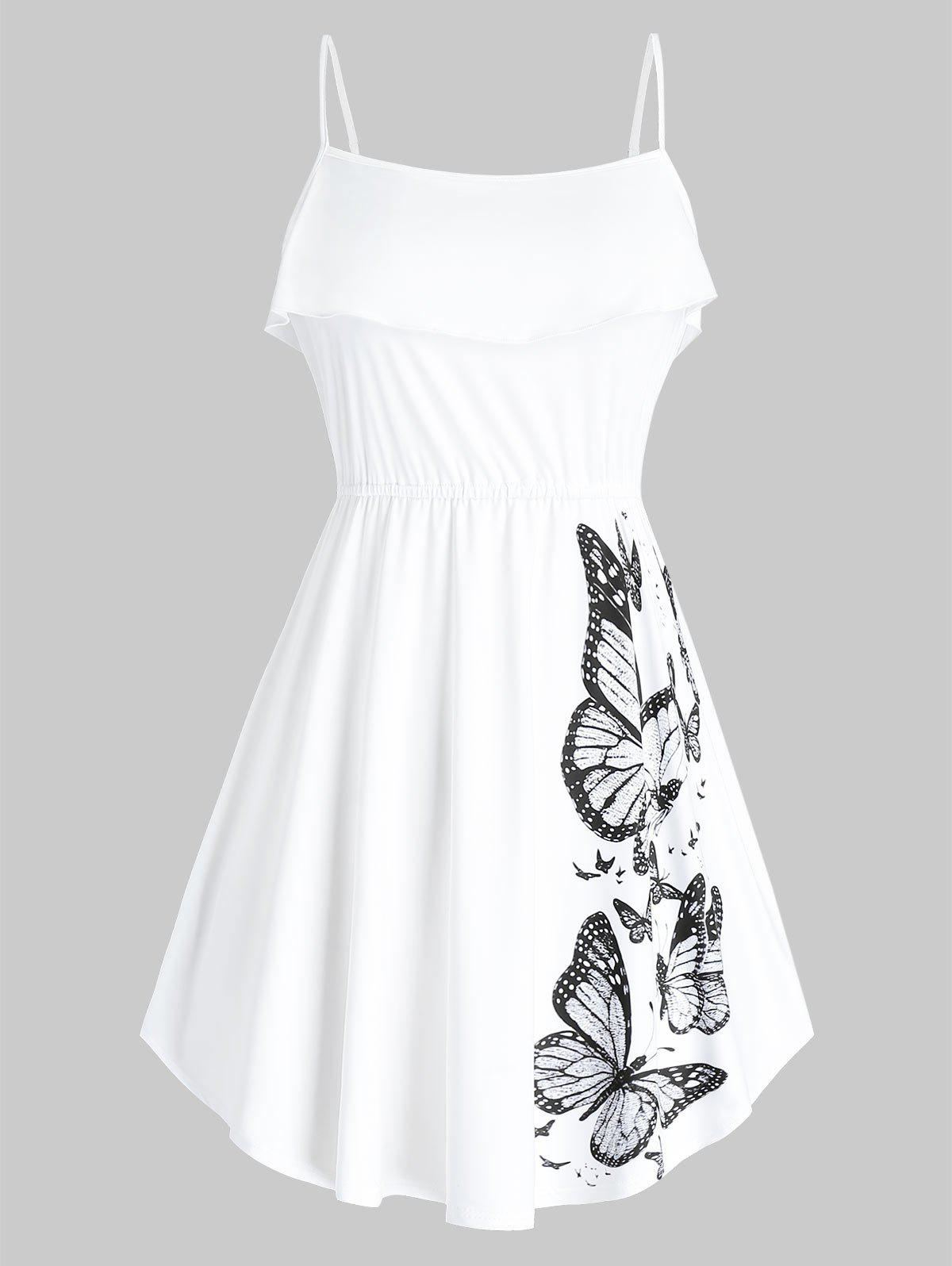 Plus Size Butterfly Print Ruffled Tank Top - WHITE 3X