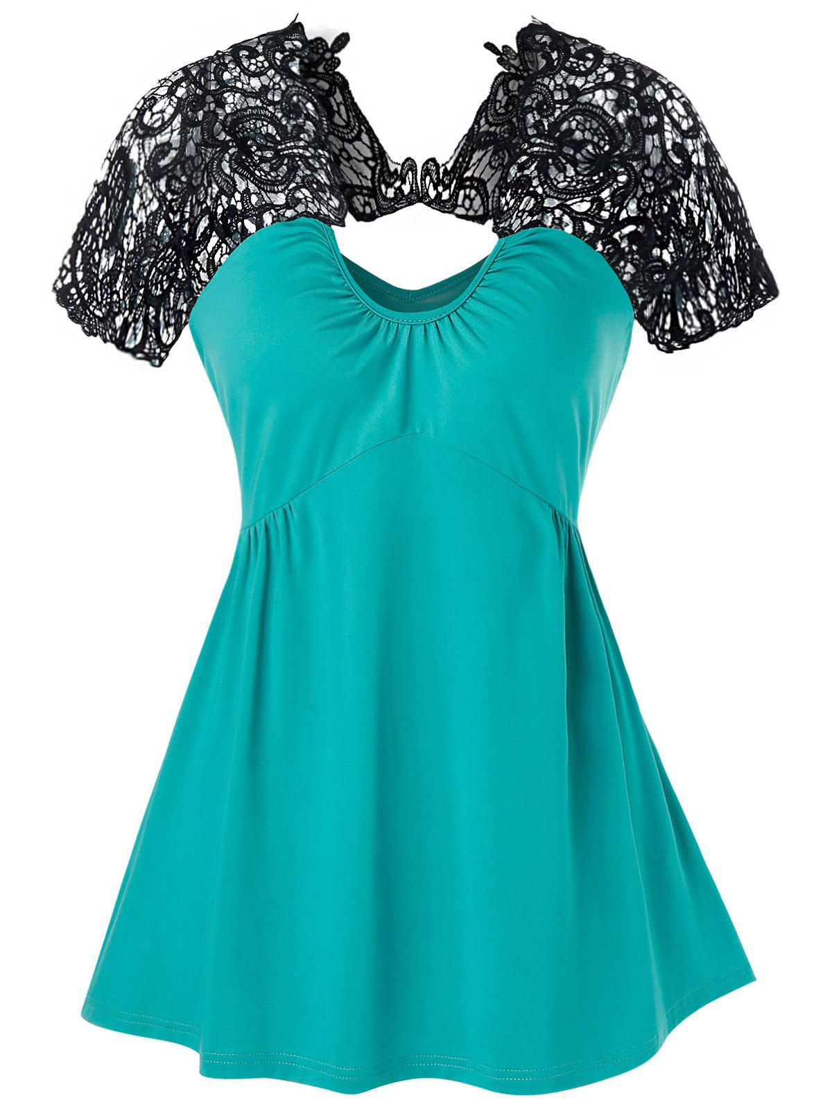 Lace Insert Cut Out Flare Tank Top - TURQUOISE M