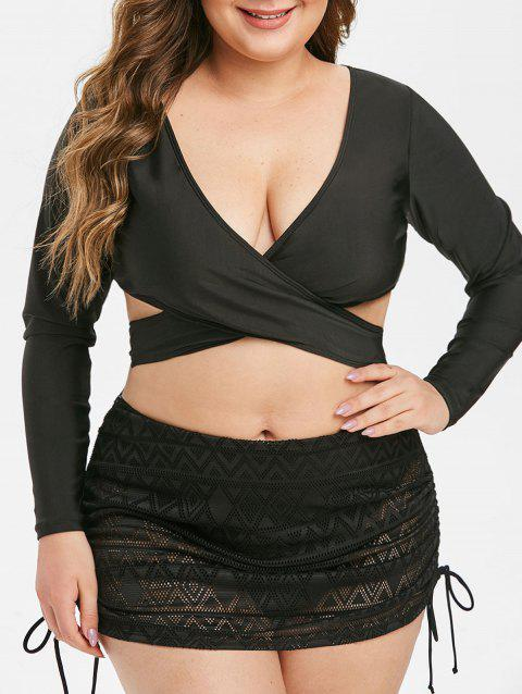 Criss Cross Tie Waist Padded Plus Size Swim Top