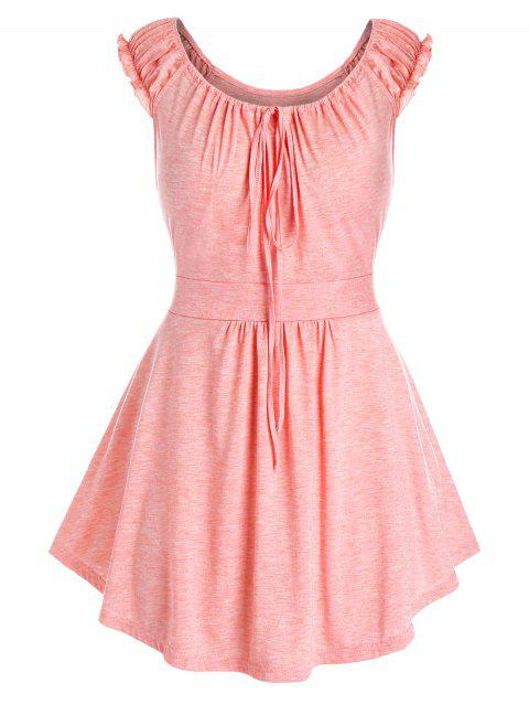 Plus Size Ruched Ruffle Strap Tank Top